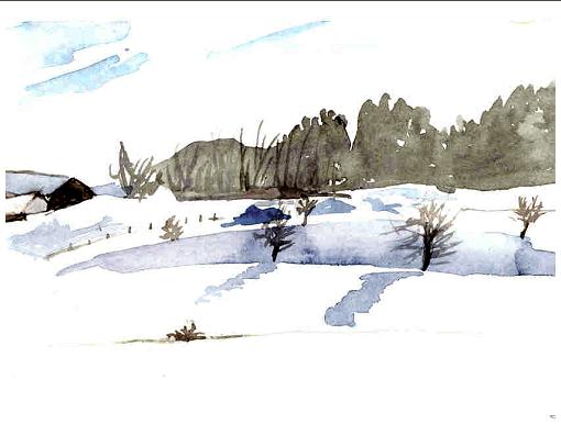 aufhofen, blauer schatten im schnee