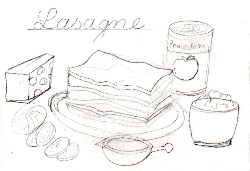 lasagne bleistiftzeichnung
