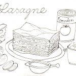 lasagne mit tusche gezeichnet