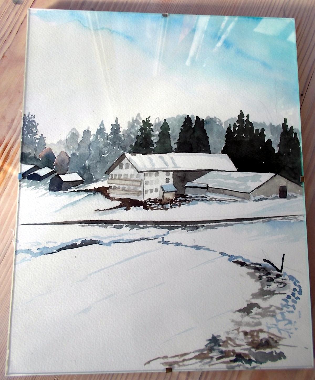 bauernhof bei zell im schnee