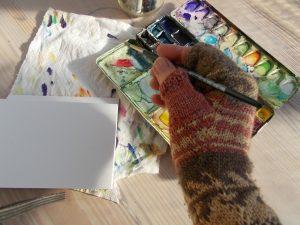 foto mit warmen handschuhen