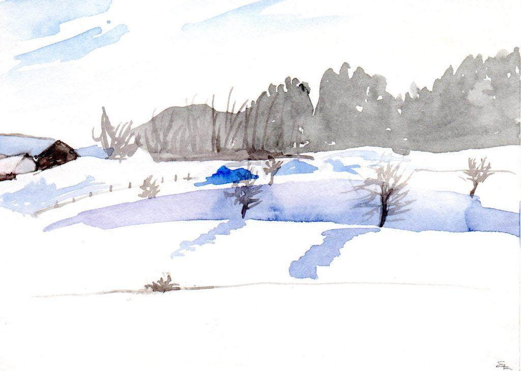 Blauer Schatten im Schnee