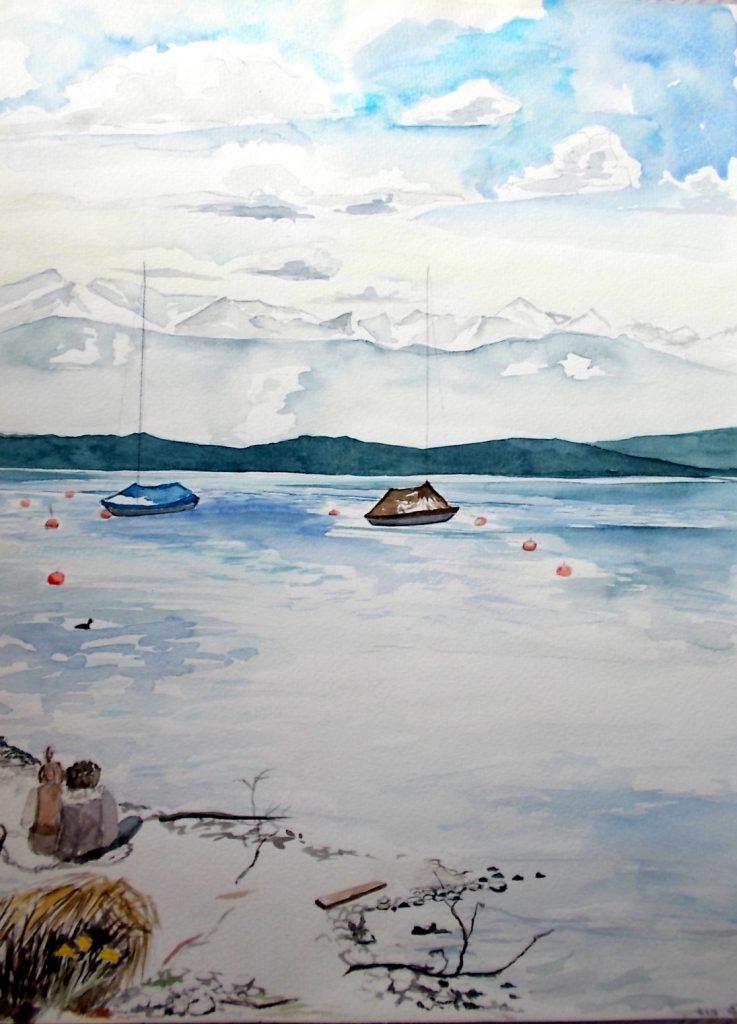 Zwei Frauen am Ufer