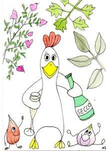 Handgemalte Illustration brathendl-mit-italienischen-kraeutern