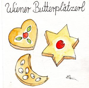 Handgemalte Illustration wiener-butterplaetzchen