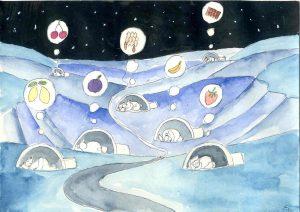 Handgemalte Illustration: Eisbärträume