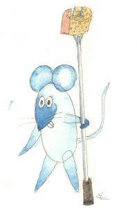 Handgemalte Illustration: Maus beim Fondue