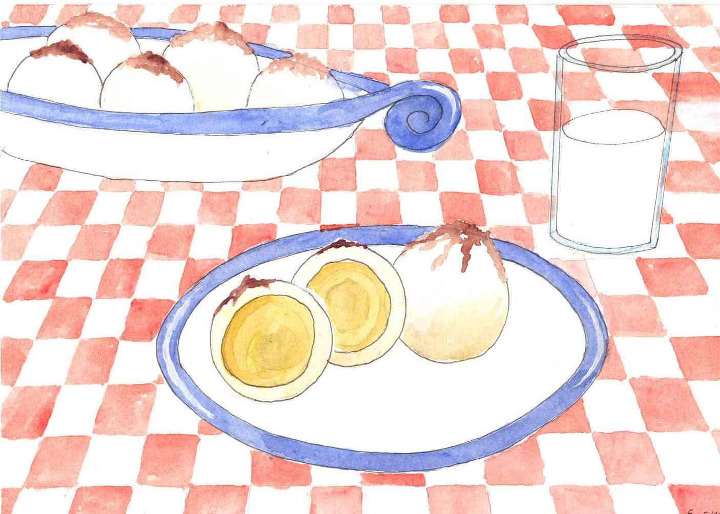 Handgemalte Illustration marillenknoedel