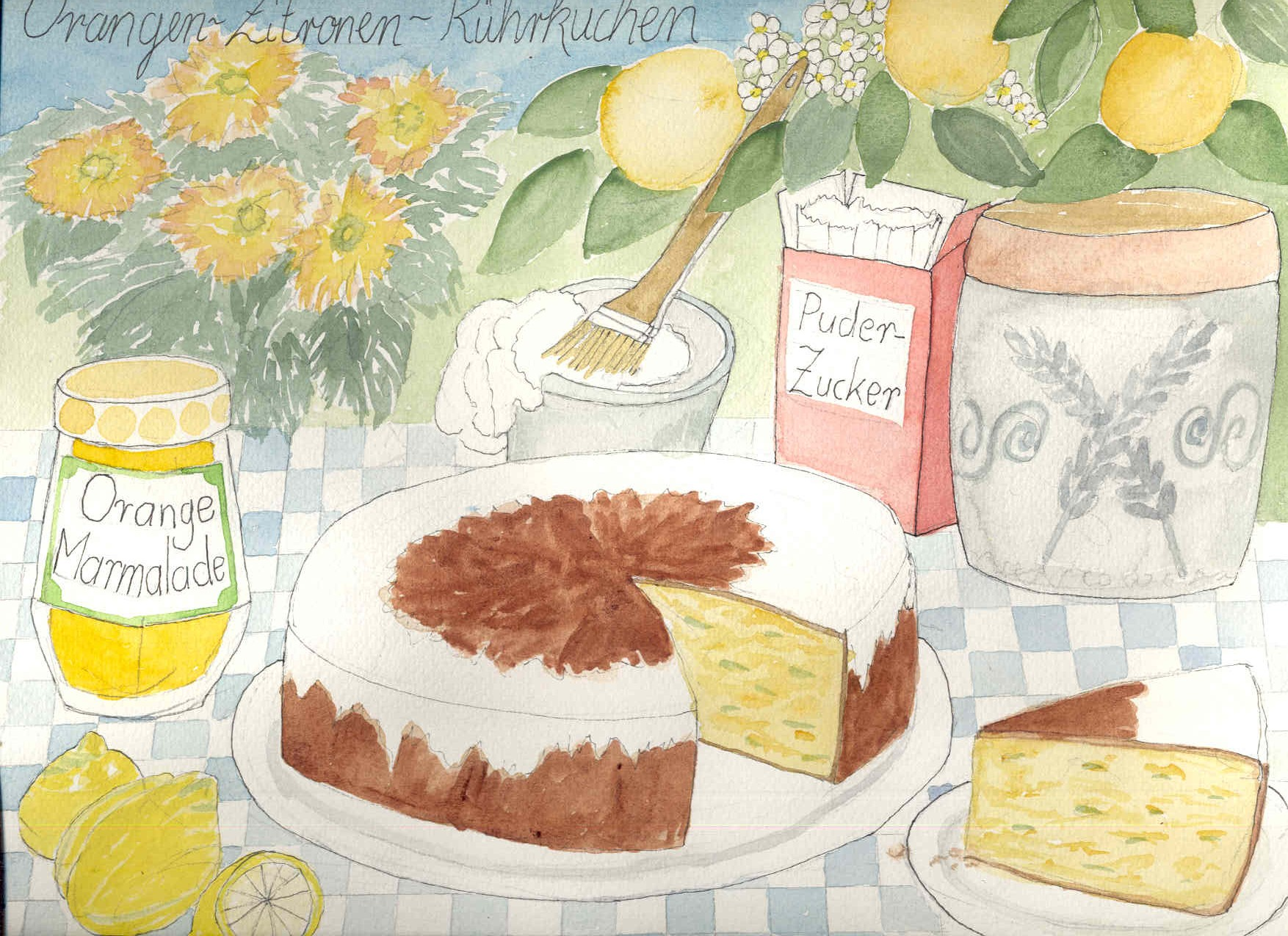 Handgemalte Illustration: orangen-zitronen-kuchen