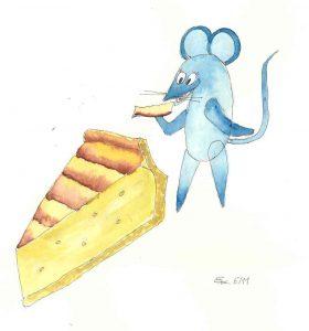 Handgemalte Illustration: bernhard die maus mit kaskuchen