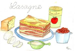 Handgemalte Illustration lasagne