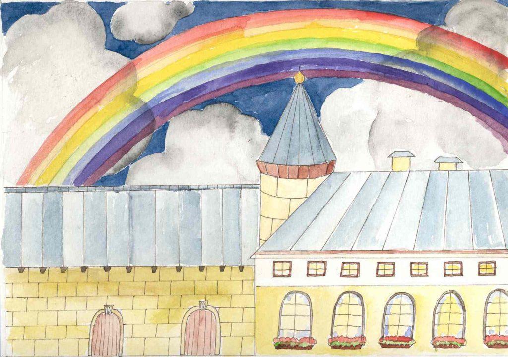 Regenbogen über dem Schloss